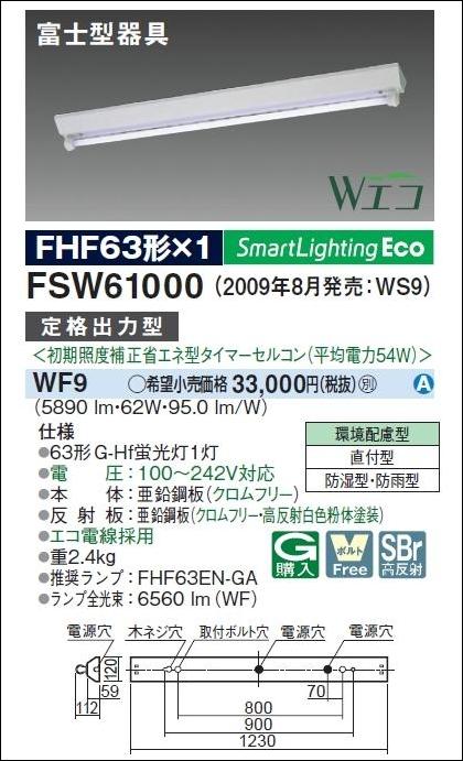 防湿防雨型 Wエコ FSW61000 WF9